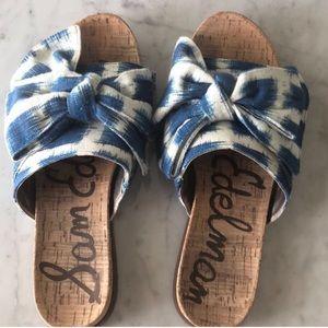 Sam Edelman ikat big bow cork slide sandals